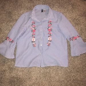 Blue, white, and floral button down top.